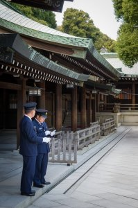 Guards at Meiji Jingu - Shibuya, Japan